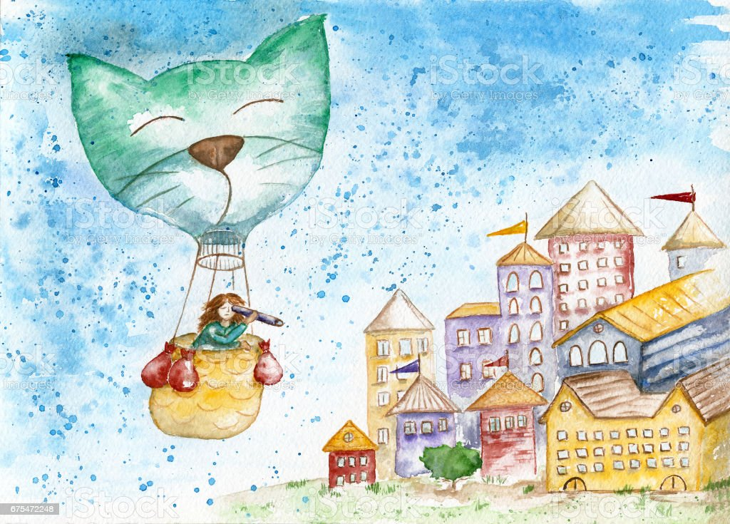 The traveler in a hot air balloon flies over the old city. stock photo
