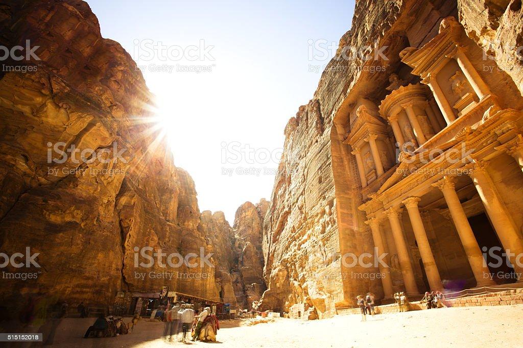 The Treasury (Al Khazneh) of Petra Ancient City, Jordan stock photo
