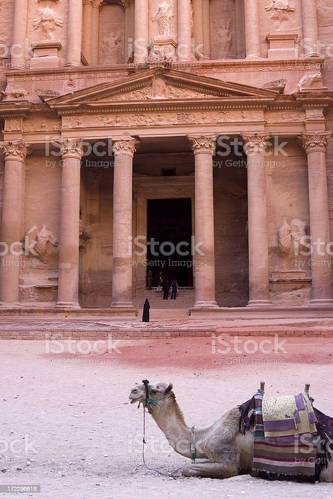 The Treasury, Petra, with camel royalty-free stock photo