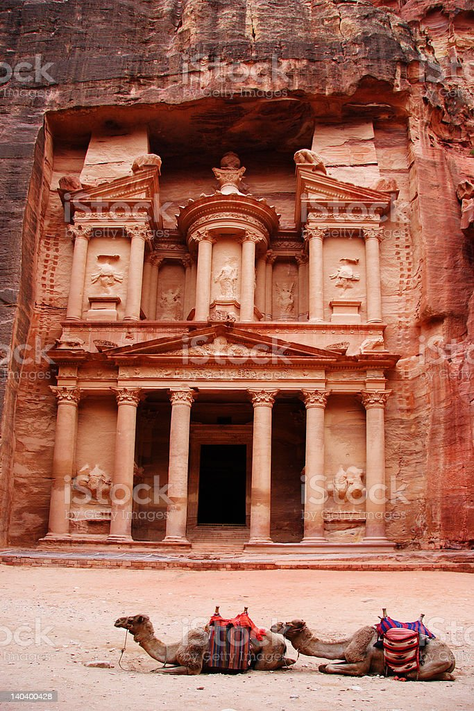 The Treasury with two camels in front, Petra, Jordan royalty-free stock photo
