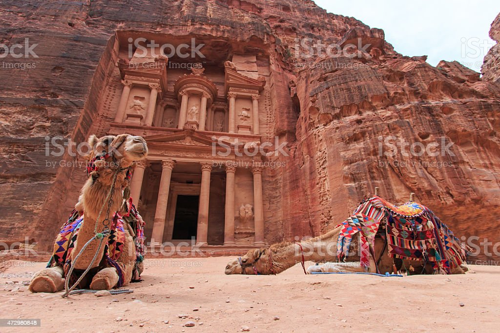 The Treasury,Al Khazneh, in Petra, Jordan stock photo