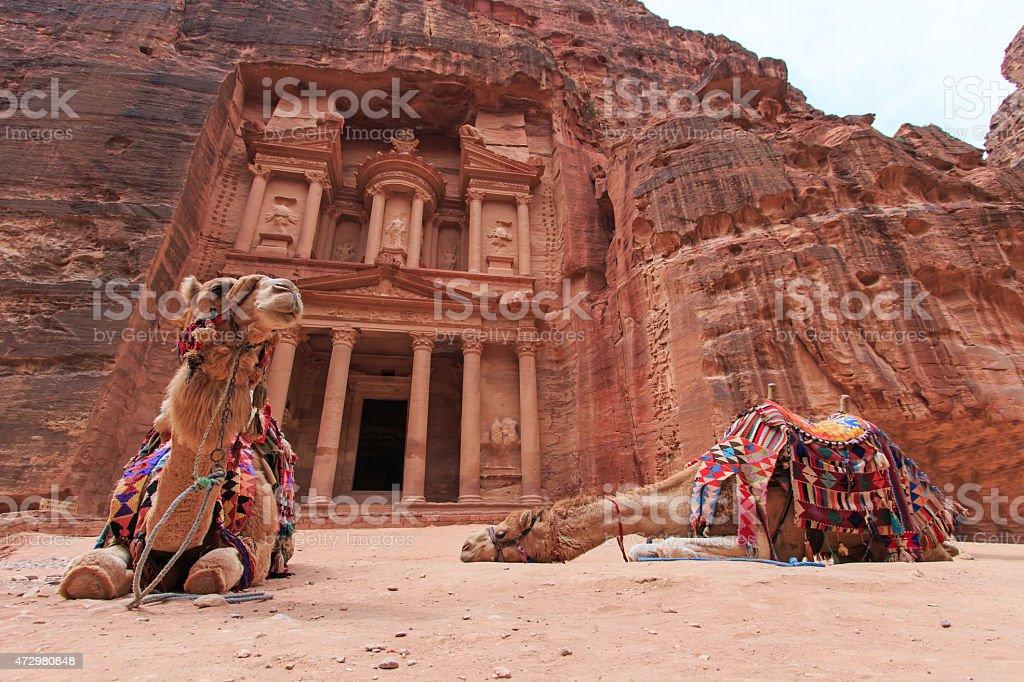 The Treasury,Al Khazneh, in Petra, Jordan stock photo