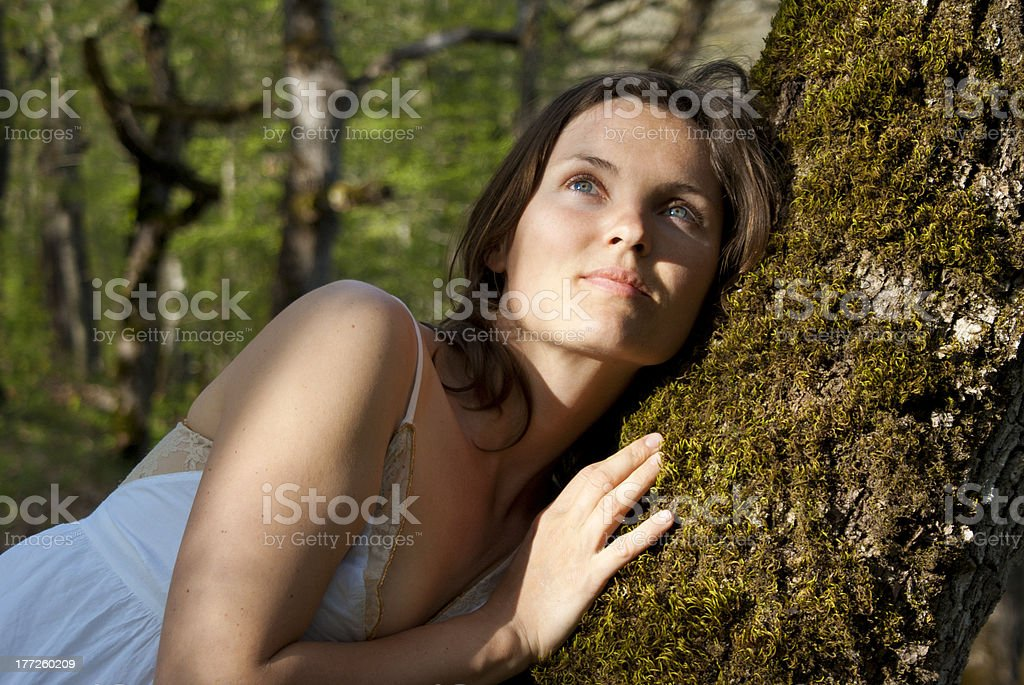 The tree's carress royalty-free stock photo