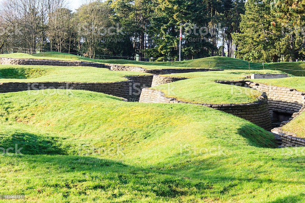 The trenches and craters on battlefield of Vimy ridge stock photo