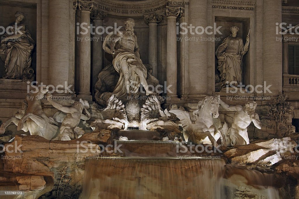 The Trevi Fountain at night royalty-free stock photo