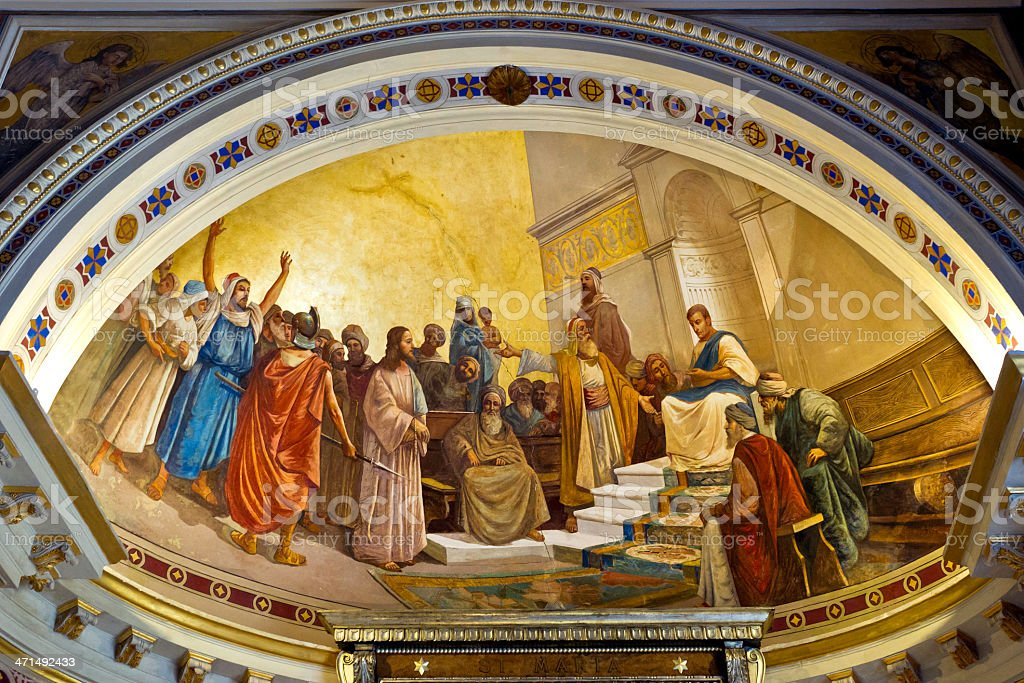 The trial of Jesus at Achilleon, in Corfu, Greece royalty-free stock photo