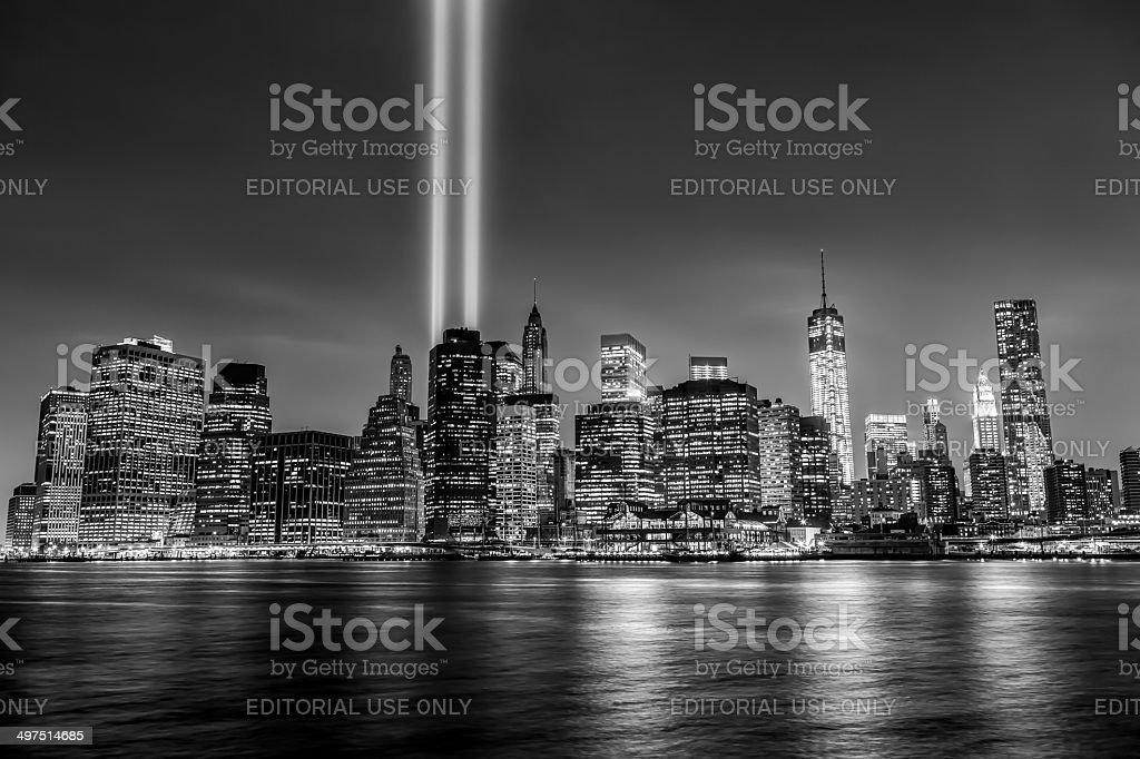 The Tribute in Light shines over Lower Manhattan skyline stock photo