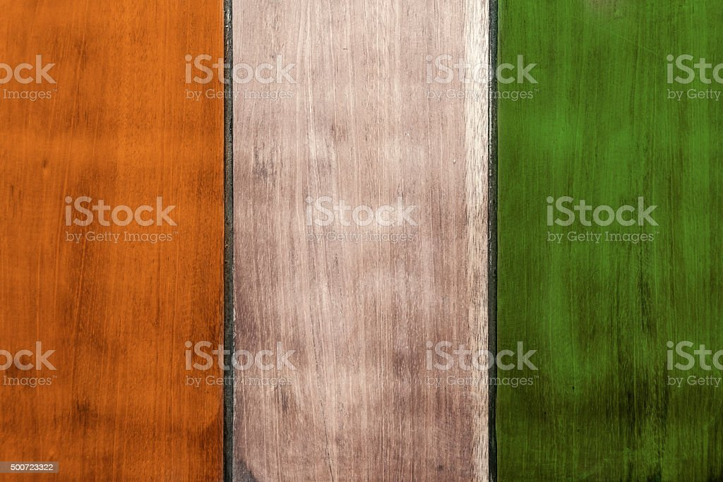 The Tricolour Côte d'Ivoire Flag Painted On Wooden Boards stock photo