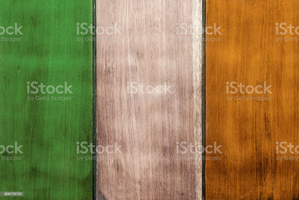 The Tricolour Irish Flag Painted On Wooden Boards stock photo
