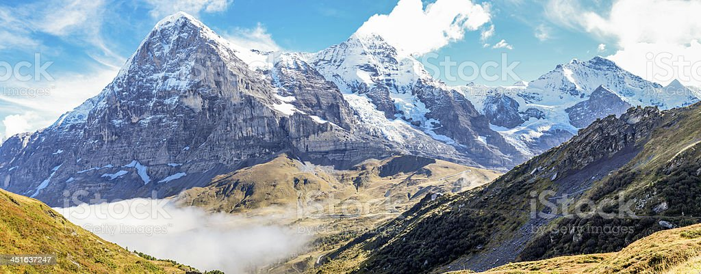 The triple peaks of Eiger, M?nch and Jungfrau royalty-free stock photo