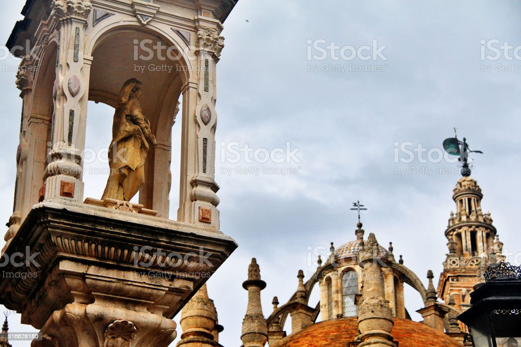The Triumph of Plaza del Triunfo, the monument that gives its name to the square, Seville (Sevilla), Andalusia, Southern Spain stock photo
