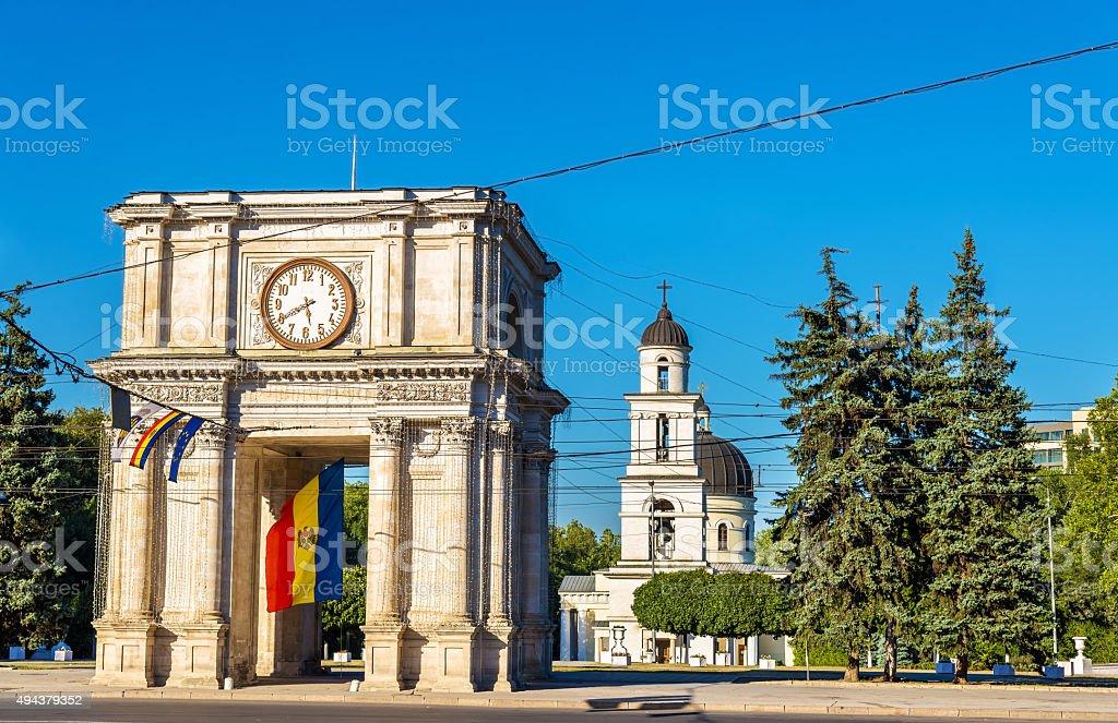 The Triumphal Arch in Chisinau - Moldova stock photo