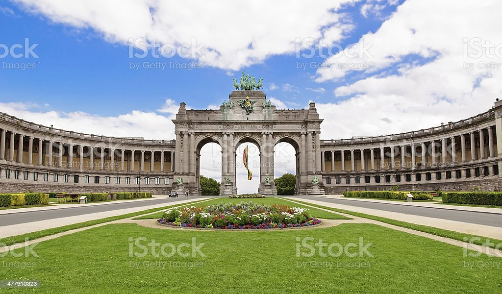 The Triumphal Arch in Cinquantenaire Parc in Brussels, Belgium w stock photo