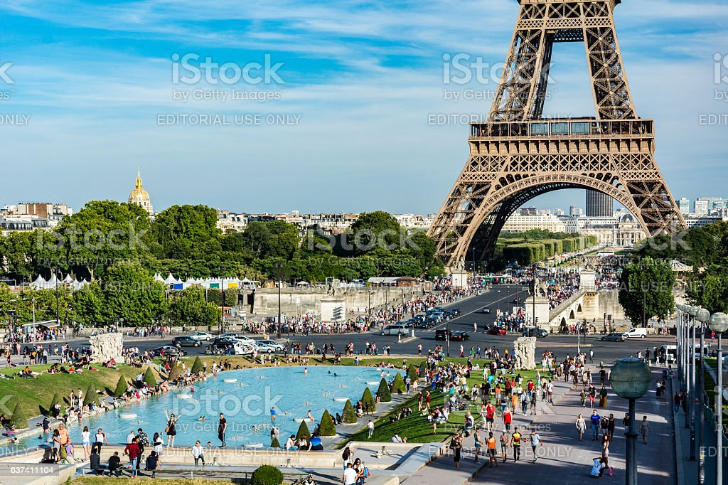 The Trocadero garden with the Eiffel Tower stock photo