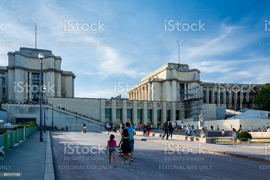 The Trocadero garden with the Palace of Chaillot stock photo