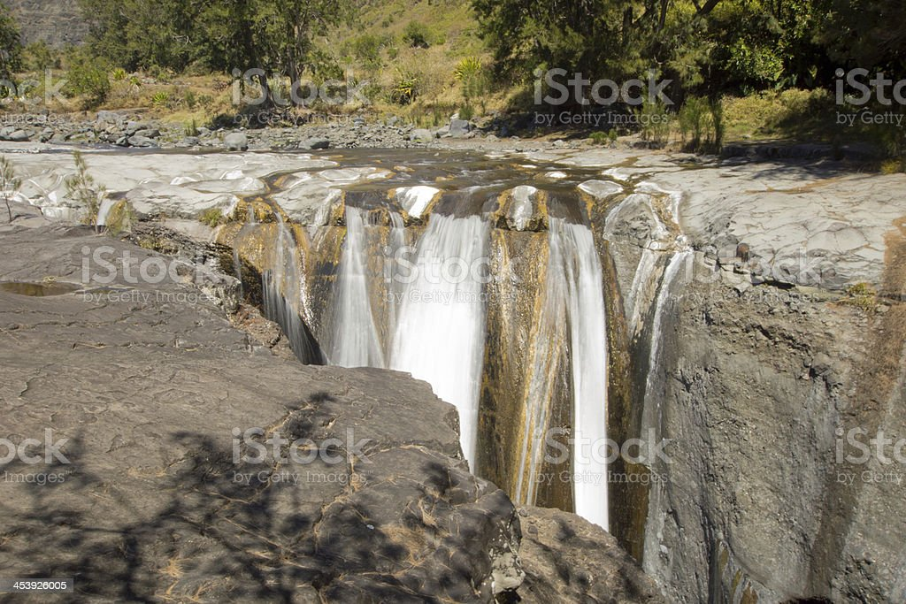 The Trois Roches Waterfall stock photo