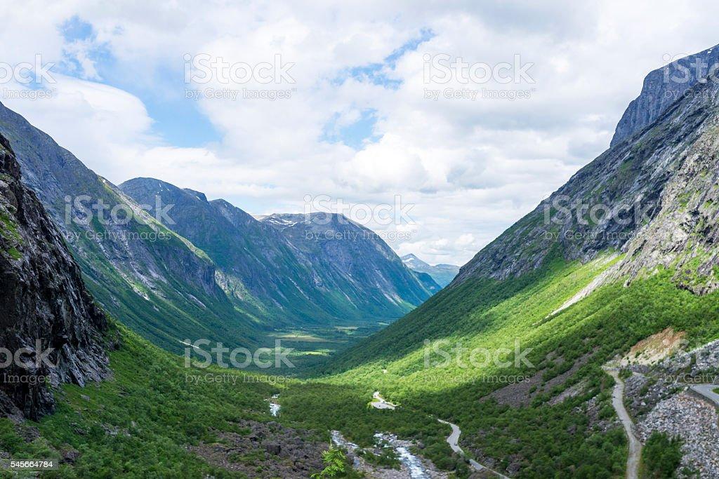 The Trollstigen road between the mountains, Norway. stock photo
