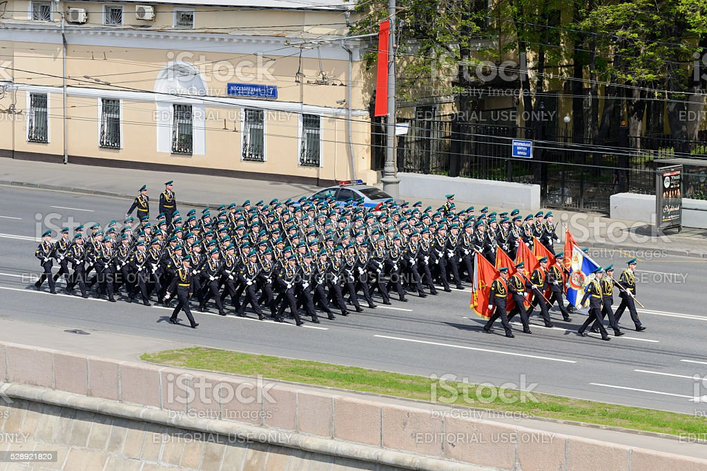 The troops in dress uniform marching stock photo