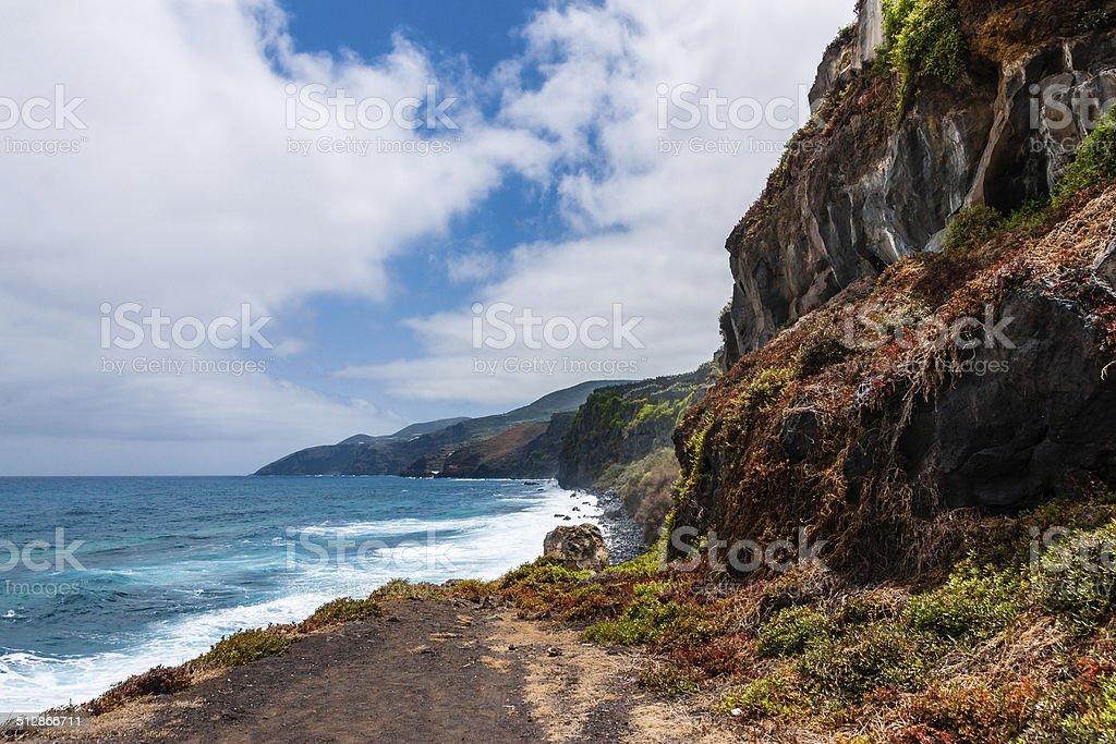 The tropical surf of the La Palma East-coast stock photo