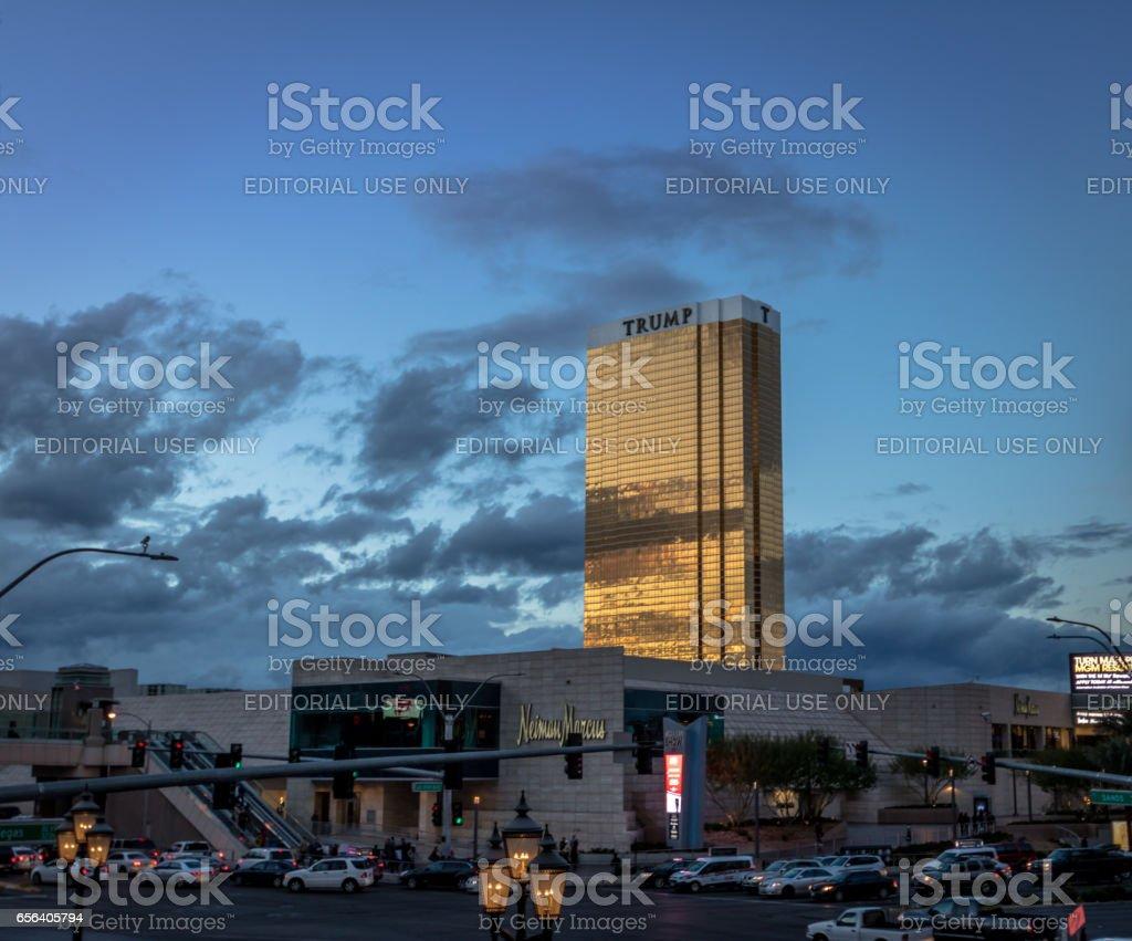 The Trump Hotel at sunset - Las Vegas, Nevada, USA stock photo