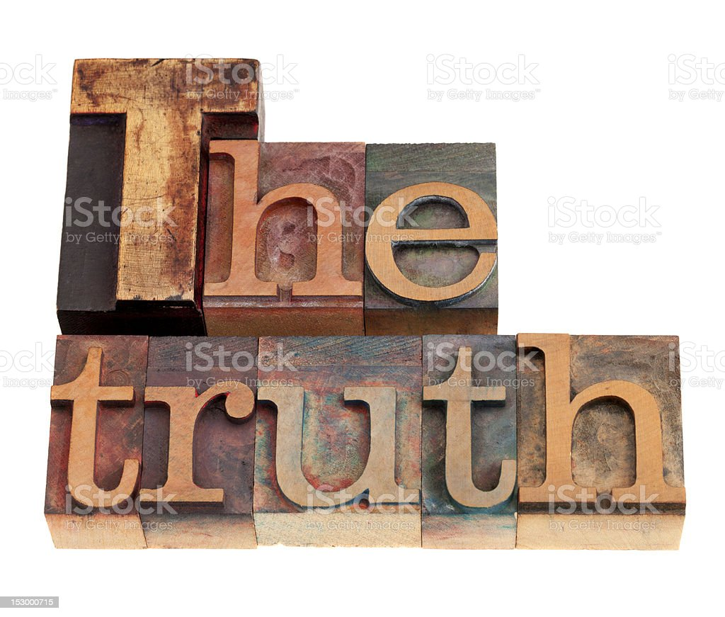 The truth word in letterpress type royalty-free stock photo