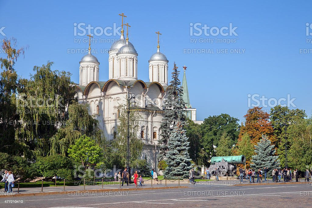 The Tsar Cannon at the Church of the Twelve Apostles stock photo