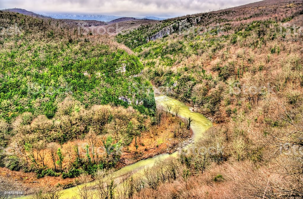 The Tskaltsitela river in Motsameta village stock photo