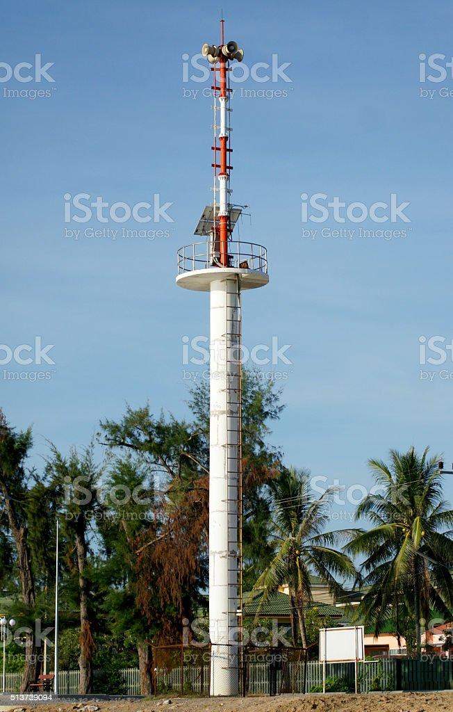 The tsunami warning tower in Thailand stock photo