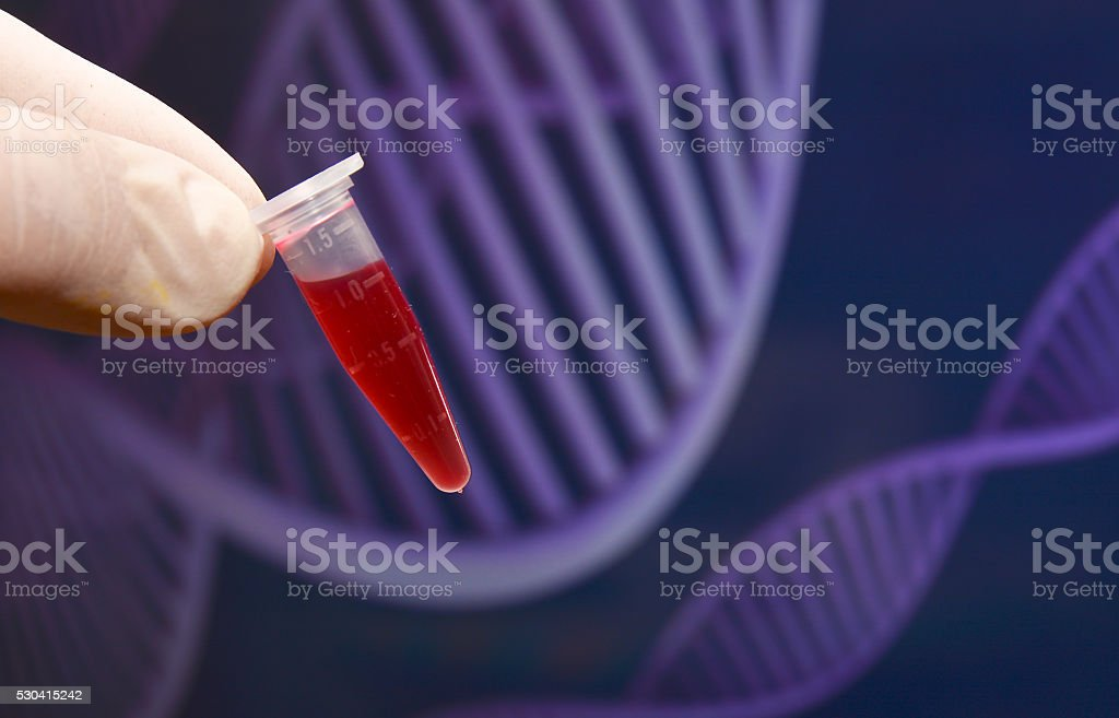 The tube of blood. stock photo