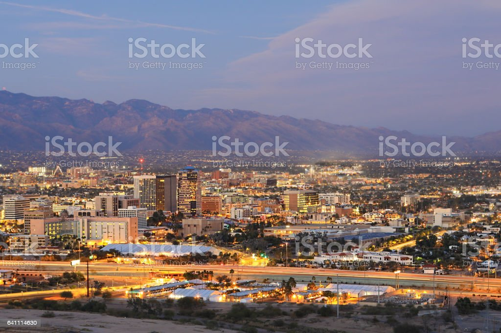 The Tucson city center at dusk stock photo