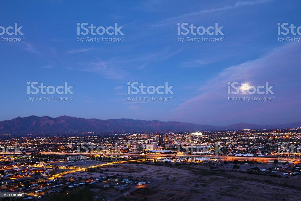 The Tucson city center at night stock photo