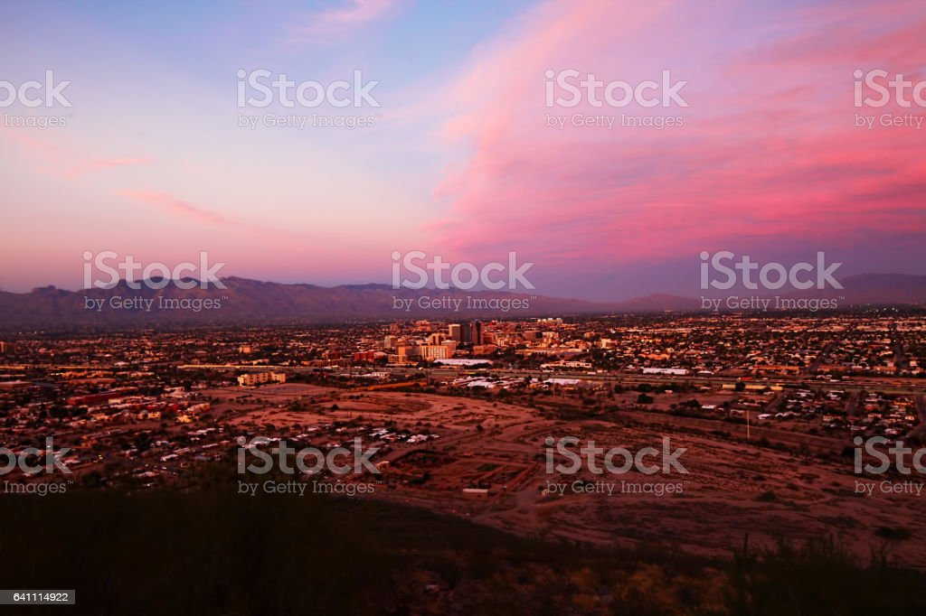 The Tucson city center at sunset stock photo