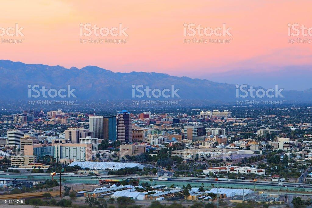 The Tucson city center at twilight stock photo