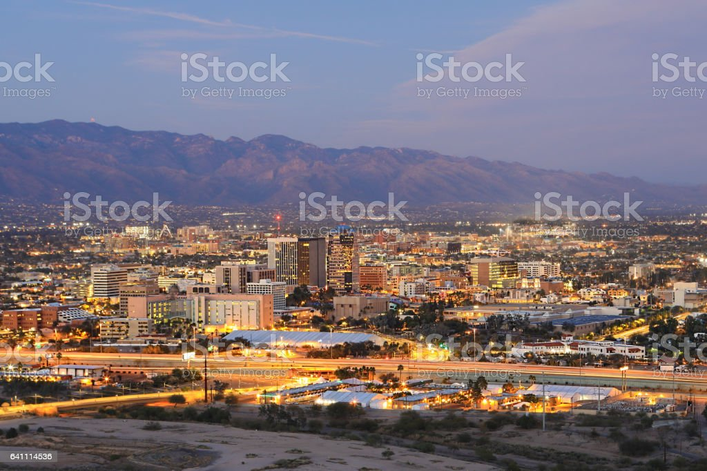 The Tucson skyline at dusk stock photo
