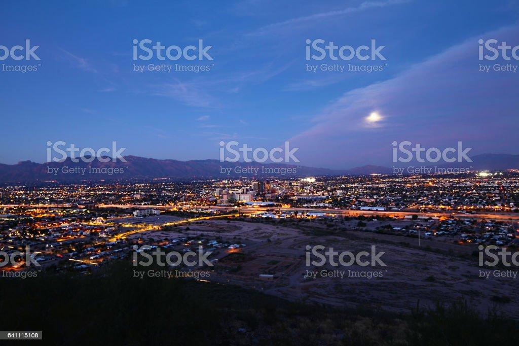 The Tucson skyline at night stock photo