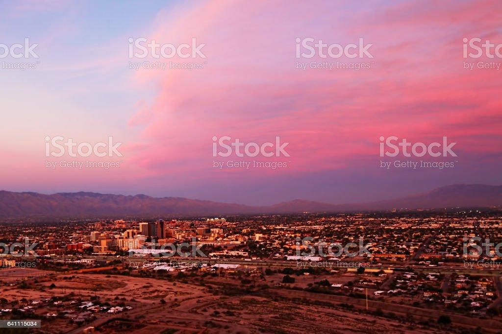 The Tucson skyline at sunset stock photo