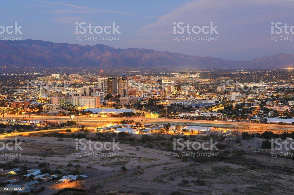 The Tucson skyline at twilight stock photo