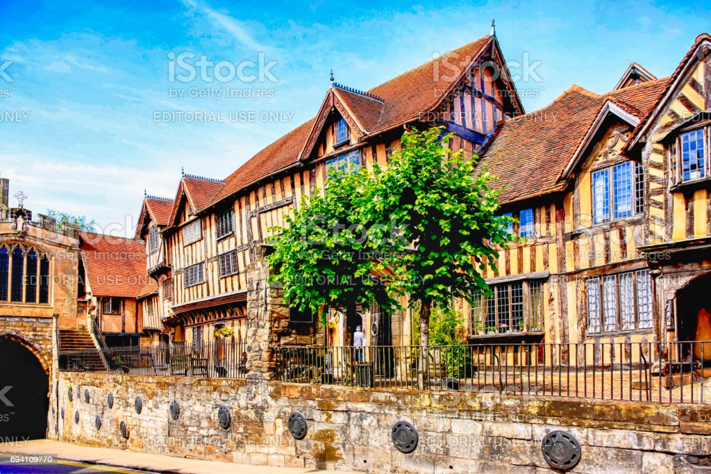 The Tudor period Lord Leycester Hospital building in Warwick, UK stock photo