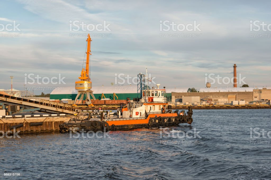 The tug at port channel. stock photo
