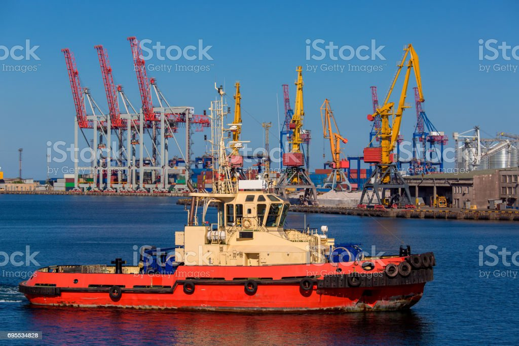 The tugboat ship. stock photo