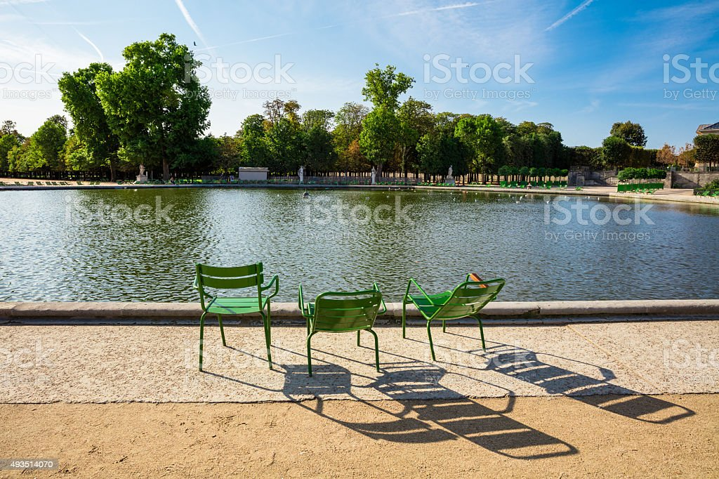 The Tuileries Garden, looking from the large round basin, Paris, France royalty-free stock photo