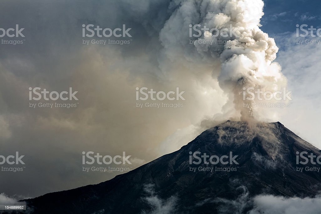The Tungurahua volcano eruption stock photo