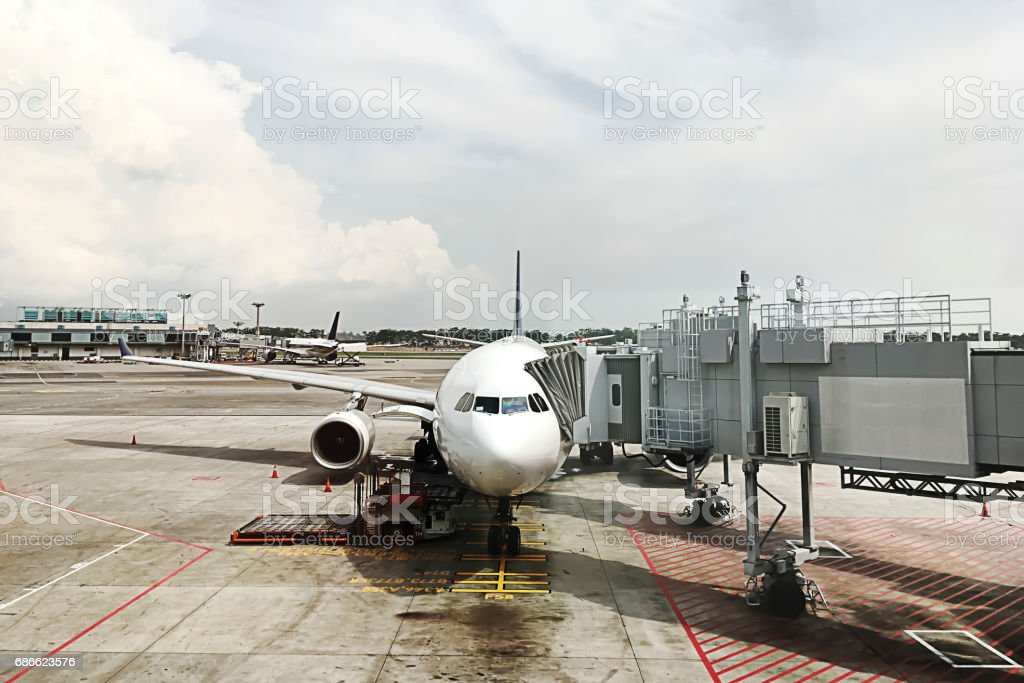 The Tunnel of the jet bridge connected to the aircraft. stock photo