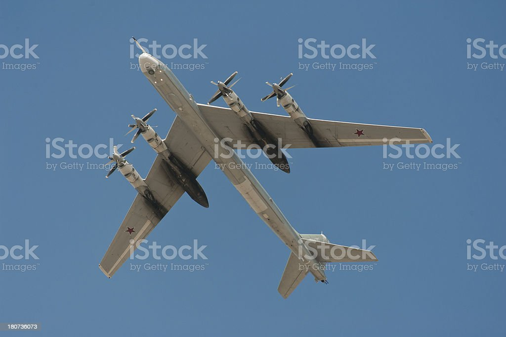 The Tupolev Tu-95 (Bear) strategic bomber. View below. royalty-free stock photo