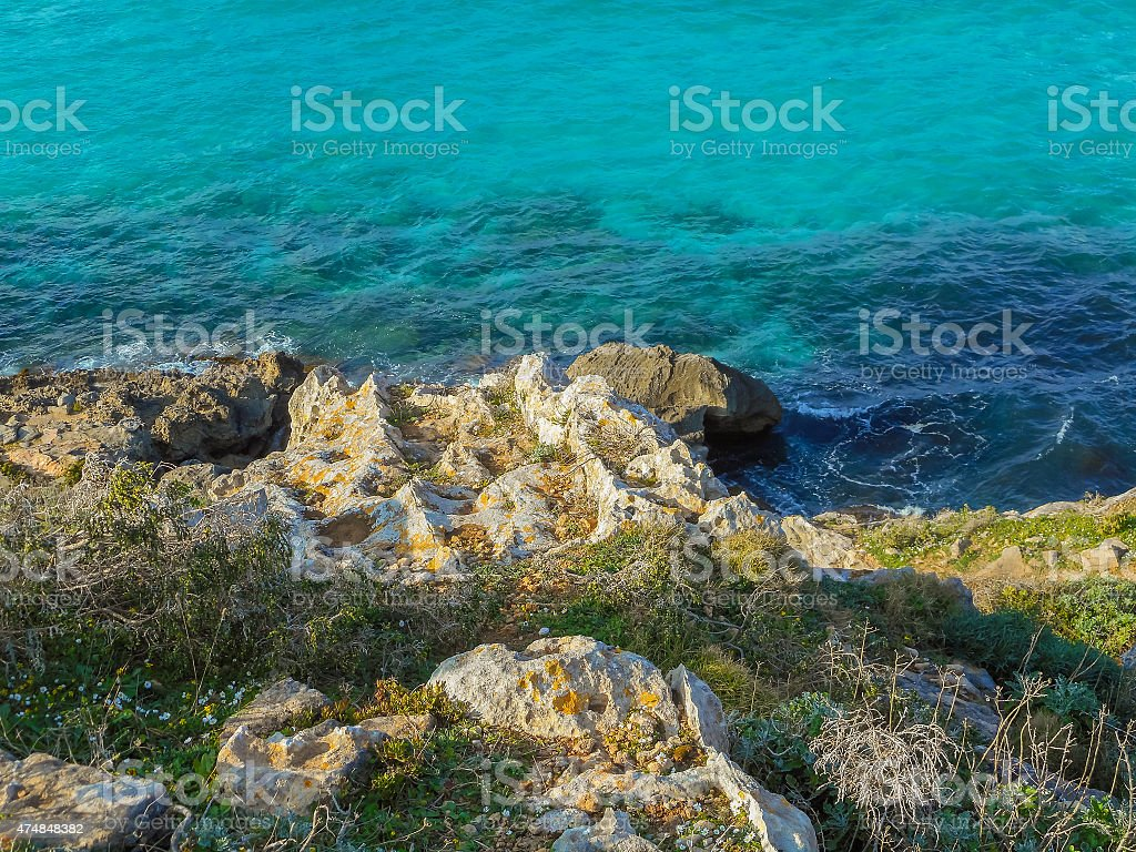 The turquoise waters of the picturesque bay. Favignana stock photo
