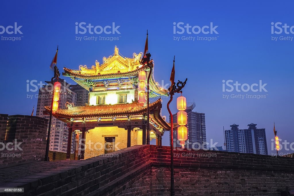 the turret on xian city wall royalty-free stock photo