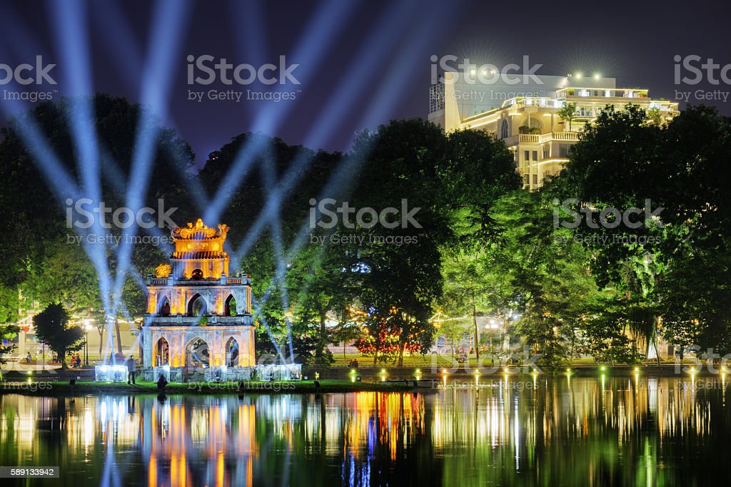 The Turtle Tower on the Hoan Kiem Lake. Hanoi stock photo