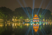 The Turtle Tower on the Hoan Kiem Lake. Hanoi