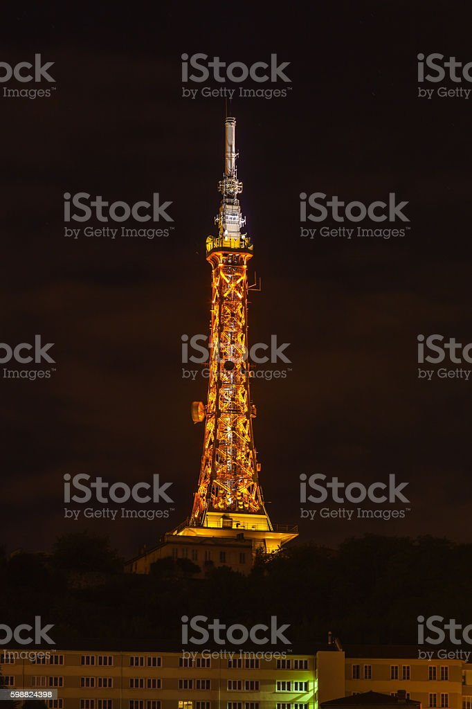 The TV Tower in Lyon, France at night stock photo
