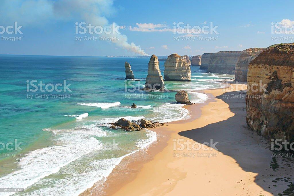 The Twelve Apostles, Australia, and a bushfire stock photo